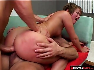 BrutalClips � Triple hole threesome in the living room