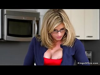 Big tits stepmom in threesome sex