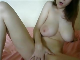Busty young blonde loves to suck her nipples and masturbate for webcam
