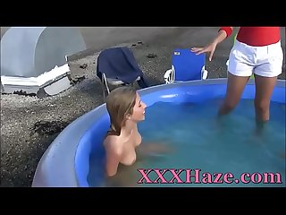Teen Lesbians Naked Pool Fight For Initiation