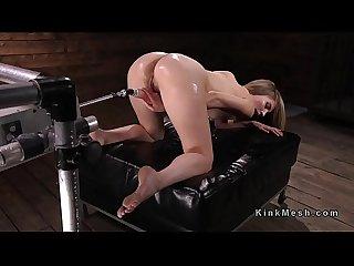 Wet pussy blonde fucks machine