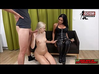 Deutsche BDSM Sexparty - 1 Herrin 1 Teen sklavin 2 Ficker - German Femdom Party anal
