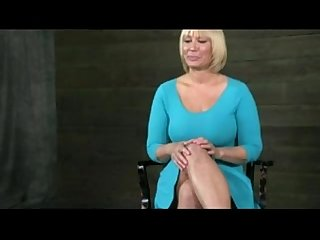 Blonde milf fucked chained to table
