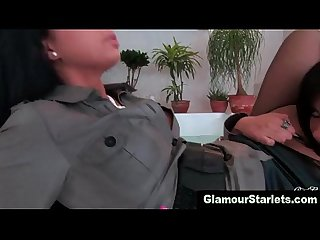 Posh lesbian in hot stockings licks pussy