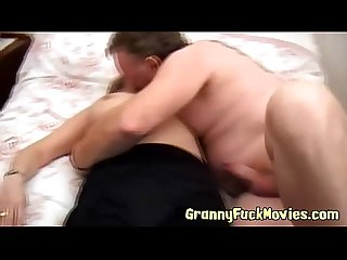 Horny granny fucks old guy