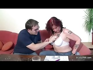 German mother helps her ugly step son with first fuck