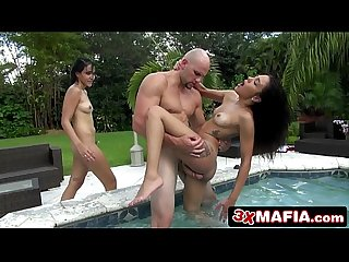2 Horny Amateur Latina Friends Kitty & Michelle Fucked in the Swimming-Pool
