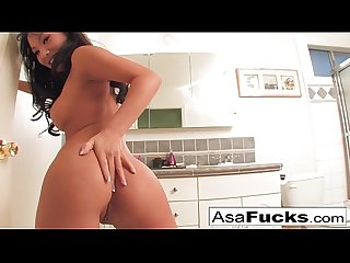 Asa sets up two cameras for you to see her get nice and horny