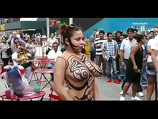 Girl show her big boobs nude body painting