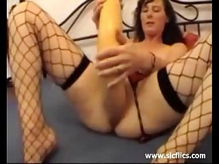 She fucks the giant pumpkin in her huge pussy