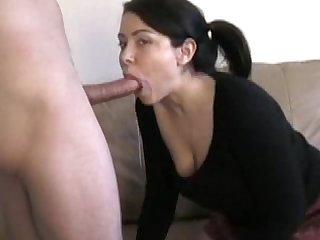 Amateur brunette babe Blowjob cocksucking home Video cum on face