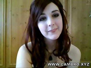Adorable redhead teen wearing stockings spanking herself on webcam