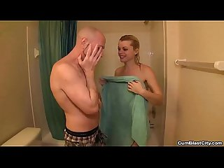 Cumblast handjob in the shower