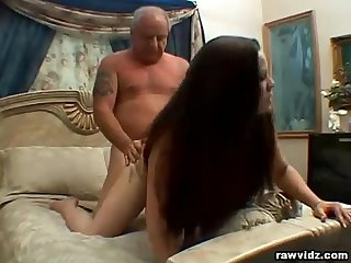 Teen elisa rides old dude S dick