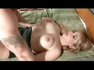 He caught milf mom of his friend masturbate and fuck her ass