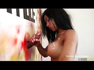 Ebony Tranny Tatianna Cock Sucking at the Gloryhole