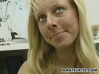 Skinny amateur girlfriend toying and cum on tits