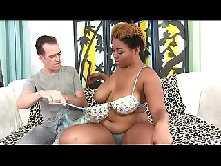Busty Black BBW Gabbie Sin Deep Throats a Cock and Then Takes It in Her Cunt