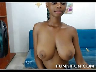 Afro latina teen with huge perfect boobs on webcam
