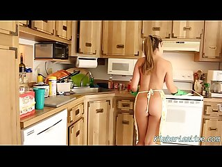 Kimber jerks off bf in the kitchen with latex gloves