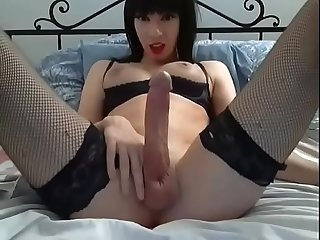 Tsmistress23 shemale big dick masturbation big cum gran corrida