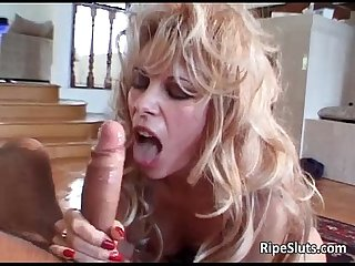 Sexy blonde skank sucks hard cock