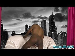 Black american trans beauty masturbates solo