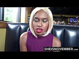 Slim Figure African American Girl Msnovember Risky Fast Food Restaurant Amateur Blowjob With Her..