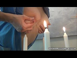 Lactation amateur Milf blowing candles with breastmilk