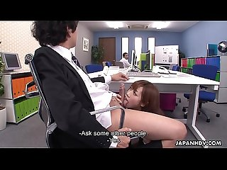 Cock sucking Asian secretary receives a mouthful from her boss