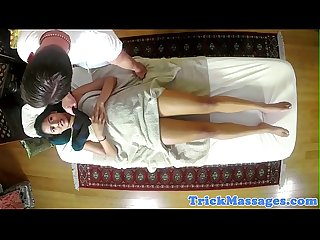 Asian glam babe screwed after massage