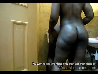 Sexy African babes are horny while taking soapy shower