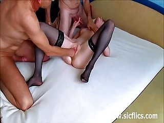 Cuckold hubby watches his wife get fist fucked