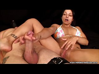 sensual bondage handjob leads to female orgasm