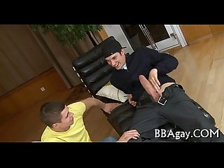 Delightful blow job for gay stud