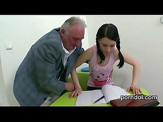 Lovesome schoolgirl is seduced and nailed by her older lecturer