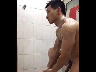 Handsome showering
