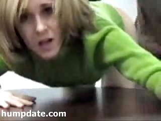 Sexy babe gets fucked doggystyle on her desk