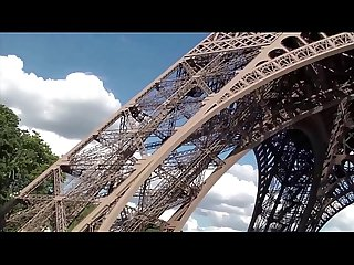 Extreme sex by the eiffel tower in paris france with a pretty girl and 2 guys