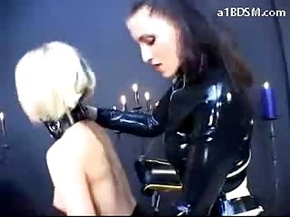 Slave girl getting her pussy fucked by strapon from behind spanked sucking strapon mistress in the d