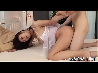 Asian mom widens her legs and gets boned in her taut cunt