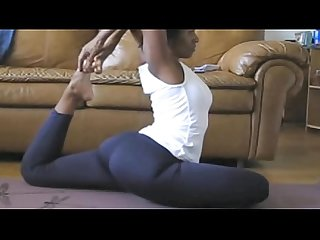 Ebony MILF Yoga Legs Spread Nice View