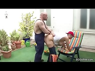 German Young Boy Seduce His Granny to Fuck in Garden