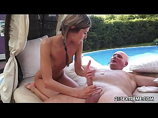 Teen cutie doris loves to play with grandpas