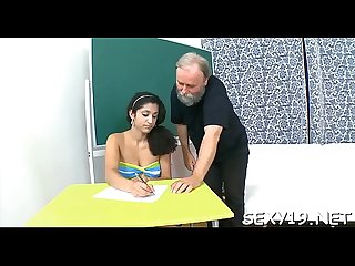 Sweet chick offers her wild cum hole for teacher s pleasure