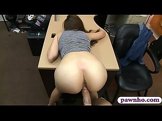 Brunette babe railed by pervert pawn man in his office