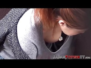 Japanese babe shows nipple while Secretly filmed