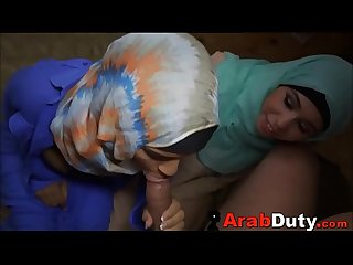 Arab Girls In Hijabs Treated To Western Soldier Cock