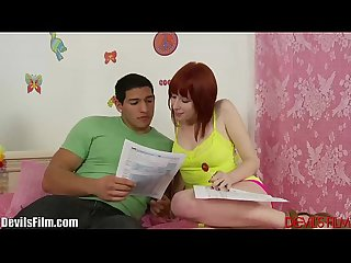 Devilsfilm tight redhead teen gets pussy stretched