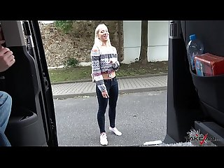 Alluring blonde picked up and drilled hard in a van